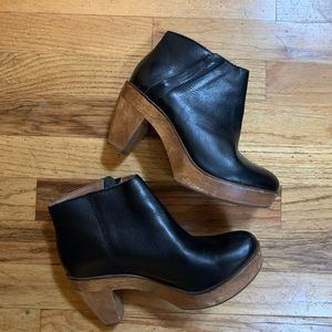 Black Leather and Wood Clog Booties 6.5